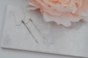 Short Hammered Sterling Silver Dangle Stick Earrings