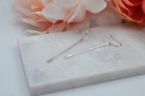 Textured Sterling Silver Stick Dangle Earrings