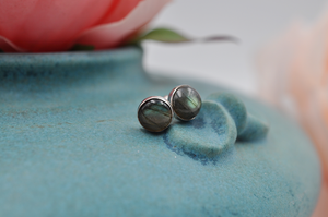 Labradorite and Sterling Silver Bubble Round Earrings