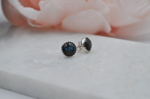 Sterling Silver and Labradorite Round Bubble Post Earrings