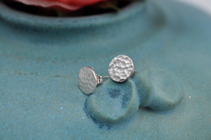Simple Hammered Sterling Silver Post Earrings