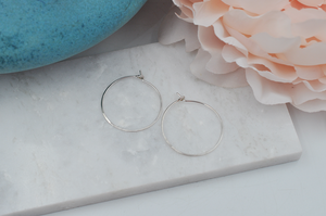 Classic Sterling Silver Small Hammered Hoop Earrings