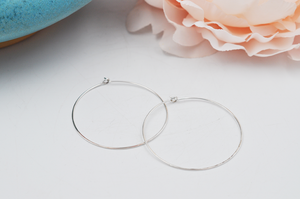 Elegant Sterling Silver Medium Hammered Hoop Earrings