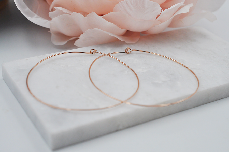 Large Lightweight 14K Rose Gold Filled Hoop Earrings