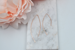 14K Rose Gold Filled Modern Love Open Dangle Earrings
