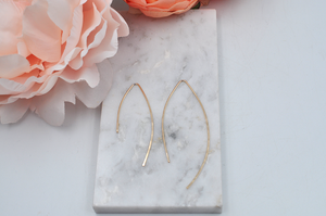 14K Yellow Gold Filled Modern Love Long Earrings