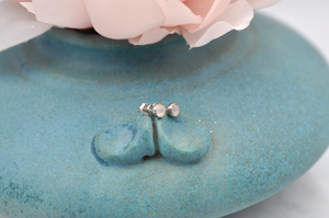 Rainbow Moonstone Dot Earrings in Silver