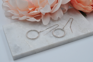 Twisted Ring Drop Ear Threader Earrings