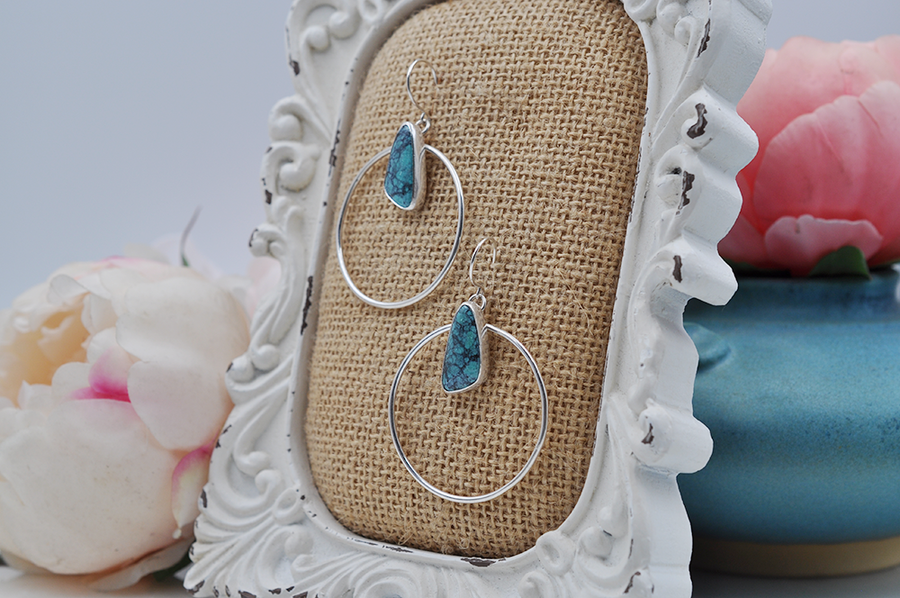 McGinnis Turquoise and Sterling Silver Hoops