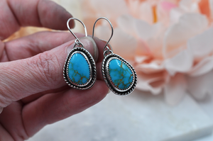 Natural Turquoise Mountain Turquoise and Sterling Silver Earrings