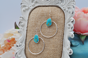 Natural Turquoise Mountain Turquoise Sterling Silver Large Hoops