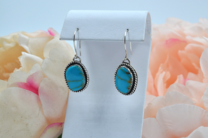 Natural Turquoise Mountain Turquoise Dangle Earrings set in Sterling Silver