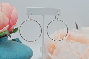 Drop Hoop Sterling Silver Earrings
