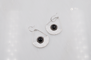 Sterling Silver and Black Onyx Anchor Earrings