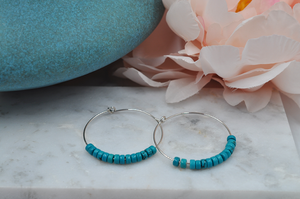 Sterling Silver Hoops with Turquoise Beads