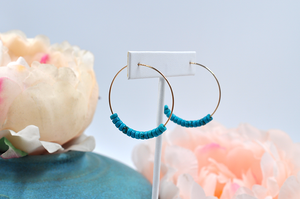 Lightweight Turquoise and 14k Gold Filled Hoop Earrings