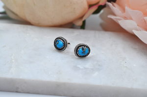 Sleeping Beauty Turquoise Post Earrings in Sterling Silver