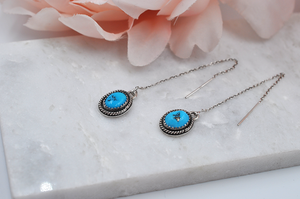 Sleeping Beauty Turquoise Threader Earrings in Sterling Silver