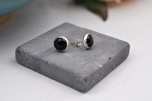 Large Round Black Onyx Sterling Silver Earrings