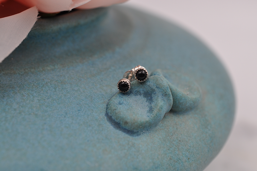 Black Onyx Dot Sterling Silver Stud Earrings