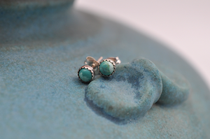 Turquoise and Sterling Silver Post Earrings