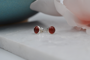 Red Carnelian Bubble Sterling Silver Post Earrings