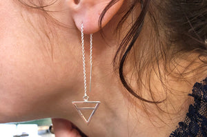 Earth Element Threader Earrings in Sterling Silver