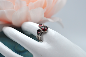 Garnet Mix & Match Sterling Silver Hammered Stacking Ring