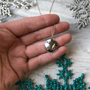 Texture Domed Circle Necklace in Sterling Silver