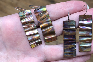 RESCHEDULED Due to Weather!!! FRIDAY, January 22nd • Fire Painted Copper Wave Earrings