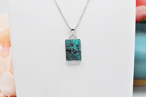 Rectangle Natural Hubei Turquoise Sterling Silver Necklace