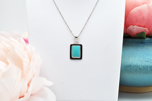 Natural Hubei Turquoise Rectangle Necklace
