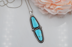 Tunnel Turquoise Two Stone Statement Necklace