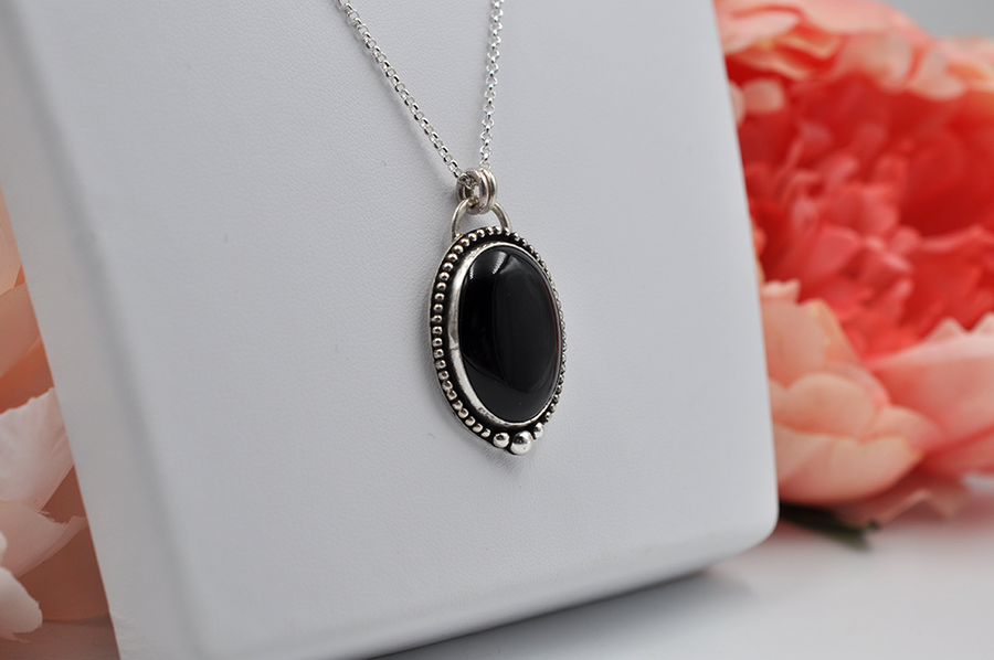 Black Onyx and Sterling Silver Oval Necklace