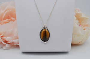 Large Oval Tiger's Eye and Sterling Silver Necklace