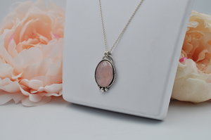 Large Oval Rose Quartz and Sterling Silver Necklace