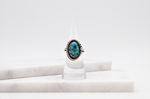 Kingman Turquoise Nugget Antiqued Sterling Silver Ring