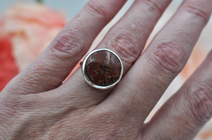 Round Cherry Creek Jasper Abella Ring in Sterling Silver