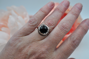 Sterling Silver and Round Black Onyx Ring