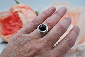 Simple Round Black Onyx and Sterling Silver Ring