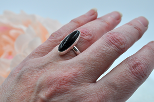 Black Onyx Oblong Sterling Silver Claira Ring