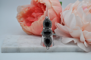 Three Stone Black Onyx Sterling Silver Statement Ring