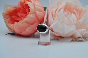 Large Horizontal Black Onyx Ring set in Sterling Silver