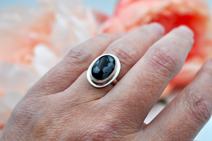 Oval Snowflake Obsidian and Silver Ring