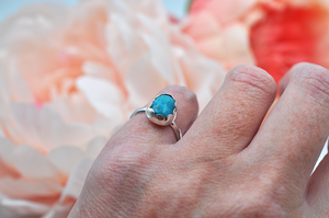 Small Kingman Turquoise Ring in Silver
