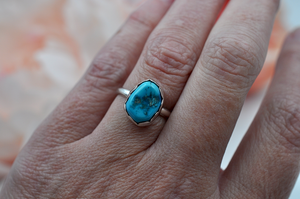 Simple Light Blue Kingman Turquoise Ring in Sterling Silver