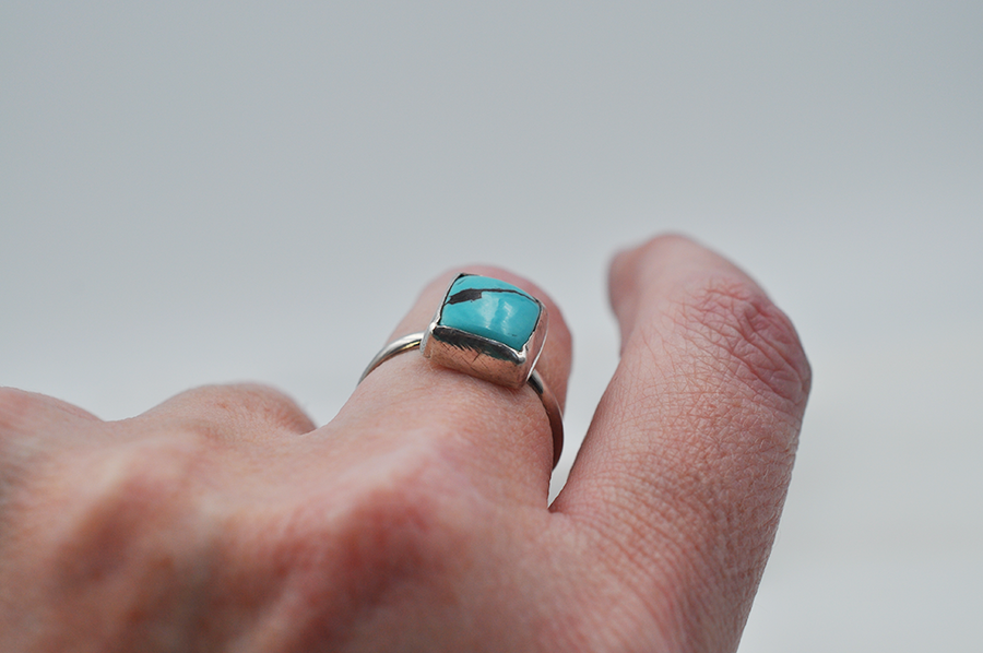 Rectangular Light Blue Natural Hubei Turquoise Ring in Sterling Silver