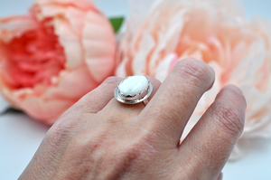 White Oval Howlite Sterling Silver Ring