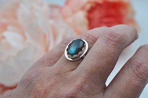 Flashy Blue Oval Labradorite and Sterling Silver Ring