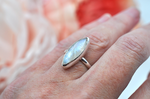 Marquise Rainbow Moonstone and Silver Ring